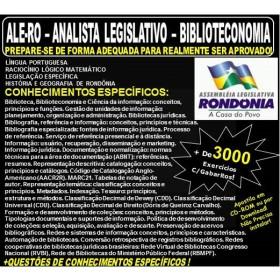 Apostila ALE-RO - ANALISTA LEGISLATIVO - BIBLIOTECONOMIA - Teoria + 3.000 Exercícios - Concurso 2018