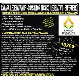 Apostila CAMARA LEGISLATIVA DF - CONSULTOR TÉCNICO LEGISLATIVO - ENFERMEIRO - Teoria + 10.200 Exercícios - Concurso 2018