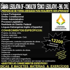 Apostila CAMARA LEGISLATIVA DF - CONSULTOR TÉCNICO LEGISLATIVO - ENGENHEIRO CIVIL - Teoria + 12.200 Exercícios - Concurso 2018