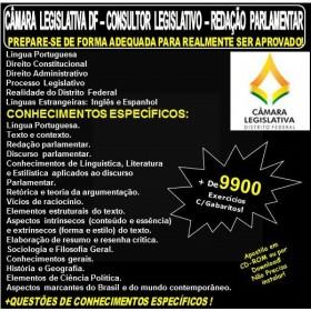 Apostila CAMARA LEGISLATIVA DF - CONSULTOR LEGISLATIVO - REDAÇÃO PARLAMENTAR - Teoria + 9.900 Exercícios - Concurso 2018