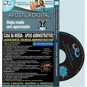 Apostila CASA DA MOEDA - Apoio Administrativo - Assistente Técnico Administrativo - Teoria + 3.800 Exercícios