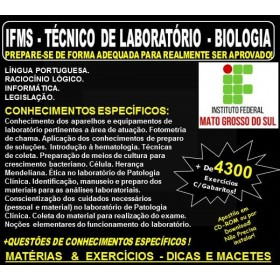 Apostila IFMS - TÉCNICO de LABORATÓRIO - BIOLOGIA - Teoria + 4.300 Exercícios - Concurso 2018