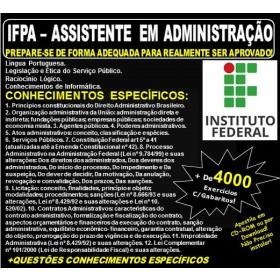 Apostila IFPA - ASSISTENTE em ADMINISTRAÇÃO - Teoria + 4.000 Exercícios - Concurso 2019