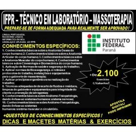 Apostila IF PR - Técnico em Laboratório - MASSOTERAPIA - Teoria + 2.100 Exercícios - Concurso 2019