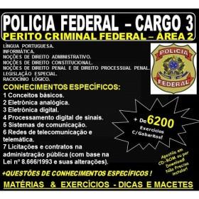 Apostila Polícia Federal - Cargo 3: PERITO CRIMINAL FEDERAL - ÁREA 2 - ENGENHARIA - Teoria + 6.200 Exercícios - Concurso 2018