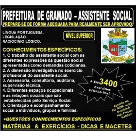Apostila PREFEITURA DE GRAMADO - ASSISTENTE SOCIAL - Teoria + 3.400 Exercícios - Concurso 2018