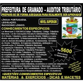 Apostila PREFEITURA DE GRAMADO - AUDITOR TRIBUTÁRIO - Teoria + 5.600 Exercícios - Concurso 2018
