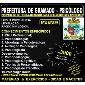 Apostila PREFEITURA de GRAMADO - PSICÓLOGO - Teoria + 3.900 Exercícios - Concurso 2018