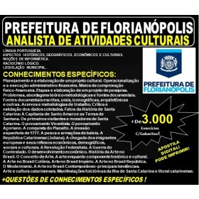 Apostila Prefeitura de Florianópolis SC - ANALISTA de ATIVIDADES CULTURAIS - Teoria + 3.000 Exercícios - Concurso 2019