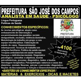 Apostila Prefeitura de São José dos Campos - Analista em Saúde - PSICÓLOGO - Teoria + 4.100 Exercícios - Concurso 2018
