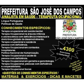Apostila Prefeitura de São José dos Campos - Analista em Saúde - TERAPEUTA OCUPACIONAL - Teoria + 4.300 Exercícios - Concurso 2018