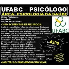 Apostila UFABC - PSICÓLOGO - Área PSICOLOGIA da SAÚDE - Teoria + 4.300 Exercícios - Concurso 2018
