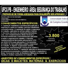 Apostila UFCG PB - ENGENHEIRO / Área: SEGURANÇA do TRABALHO - Teoria + 3.800 Exercícios - Concurso 2019