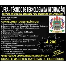 Apostila UFRA - TÉCNICO de TECNOLOGIA da INFORMAÇÃO - Teoria + 4.200 Exercícios - Concurso 2019