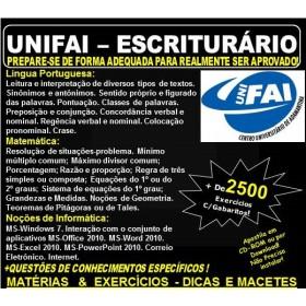Apostila UNIFAI - ESCRITURÁRIO - Teoria + 2.500 Exercícios - Concurso 2018