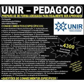 Apostila UNIR - PEDAGOGO - Teoria + 4.300 Exercícios - Concurso 2018