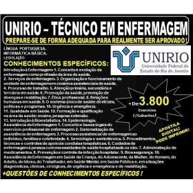 Apostila UNIRIO - TECNICO em ENFERMAGEM - Teoria + 3.800 Exercícios - Concurso 2019
