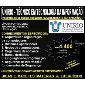 Apostila UNIRIO - TECNICO em TECNOLOGIA DA INFORMAÇÃO - Teoria + 4.400 Exercícios - Concurso 2019